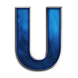 Isolated letter U in tribal blue Royalty Free Stock Photography