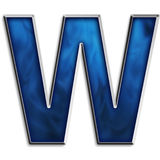 Isolated letter W in tribal blue Stock Photos