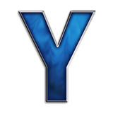 Isolated letter Y in tribal blue Royalty Free Stock Photography