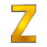 Isolated letter z in shiny gold. 3d capital z in shiny yellow gold isolated on white Stock Images