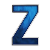 Isolated letter Z in tribal blue Royalty Free Stock Photo