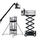 Isolated lift and scaffolding. Lift and scaffolding on white, illustration Royalty Free Stock Photos