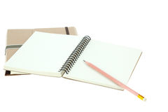Isolated Light cream color note book and pencil Royalty Free Stock Image