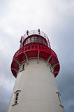 Isolated lighthouse. Looking up at isolated red and white lighthouse Royalty Free Stock Photos