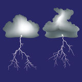 Isolated lightning and dark clouds Stock Image