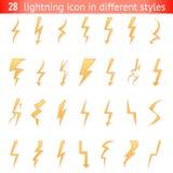 Isolated lightning thunder bolt pictogram icons set design elements vector illustration. Isolated lightning thunder bolt pictogram icon set design elements Stock Photography