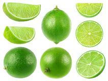 Isolated limes collection royalty free stock photos