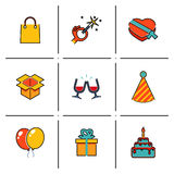Isolated line icons set Gift, Party, Birthday Royalty Free Stock Images