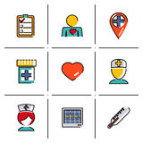 Isolated line icons set Medical care and health Royalty Free Stock Photo