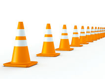 Line of Traffic Cones Stock Photography