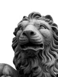 Isolated lion sculpture. Black and white Royalty Free Stock Photos
