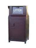 Isolated Litter Bin. A brown metal industrial strength waste receptical with the word litter on the door. Isolated on white with a clipping path Stock Photography