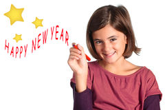 Isolated little girl - happy new year Royalty Free Stock Photography