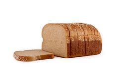 Isolated loaf of bread. Loaf of whole wheat bread isolated on white background with clipping path outline Royalty Free Stock Photos