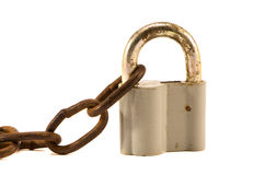 Isolated lock and rusty chain Stock Photo