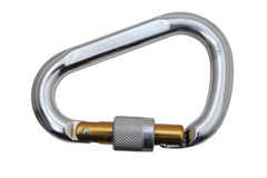 Isolated locking carabiner Royalty Free Stock Photos
