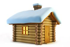 Isolated loghouse. Symbolic christmas loghouse 3d rendering Royalty Free Stock Image