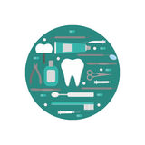 Isolated logo dental tools. Dentist Care and Medical treatment. Stomatology set Royalty Free Stock Images