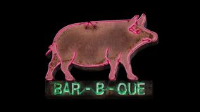 Isolated Flashing Neon BBQ Pig