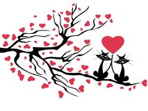 Love cats tree,vector. Isolated love cats tree,vector on white background Royalty Free Stock Image