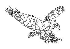 Isolated Low Poly graphic design of an American Eagle or bald Eagle landing. Editable Vector EPS10. Royalty Free Stock Photography