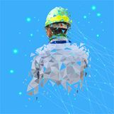 Isolated low poly of safety engineer with point connecting network on space back ground,geometric style,Abstract vector.  vector illustration