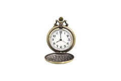 Isolated luxury vintage golden pocket watch on white background, , abstract for time concept stock image