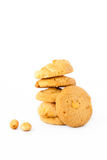 Isolated macadamia cookies in white background Stock Photos