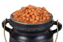 Macro baked beans in old pot Royalty Free Stock Photos