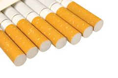 Isolated Macro Closeup Of Filter Cigarettes Royalty Free Stock Image