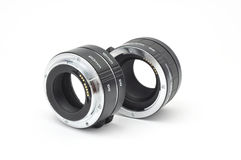 Isolated macro extension tubes. On white Royalty Free Stock Image