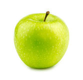 Isolated macro of a green granny smith apple Royalty Free Stock Photo