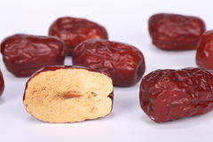 Isolated macro image of Chinese red dates Royalty Free Stock Images