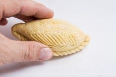 Isolated and macro shot of Novruz holiday cookie shekerbura. On white background royalty free stock images