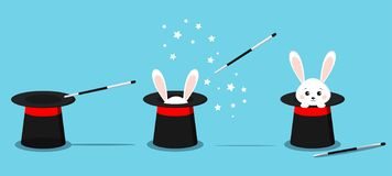 Isolated magician`s black hat, magic hat with bunny ears, white rabbit in hat with magic wand vector illustration