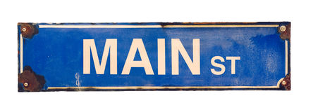 Isolated Main Street Sign Stock Images