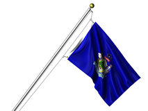 Isolated Maine Flag. Detailed 3d rendering of the flag of the US State of Maine hanging on a flag pole isolated on a white background.  Flag has a fabric texture Stock Photography