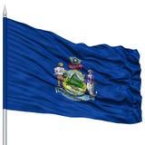 Isolated Maine Flag on Flagpole, USA state Stock Photography