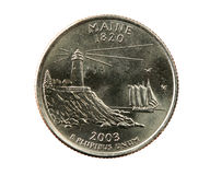 Isolated Maine quarter Royalty Free Stock Photos