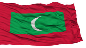 Isolated Maldives Flag. Waving on White Background, High Resolution Stock Photography