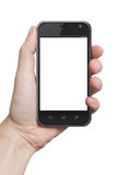 Isolated male hand holding the iphone tablet touch Royalty Free Stock Photography