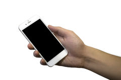 Isolated male hand holding a phone. With white screen Royalty Free Stock Photography