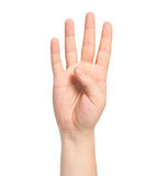 Isolated male hand showing the number four stock photography