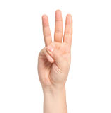 Isolated male hand showing number three Royalty Free Stock Images