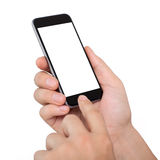 Isolated male hands holding the phone with white screen Stock Photography