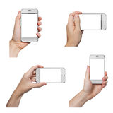 Isolated male hands holding a white iphone stock photos