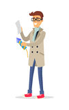Isolated man in Beige Coat Blue Jeans Holds Rocket. Isolated man in beige coat, blue jeans, light scarf and red shoes holds rocket and reads instruction. Vector Royalty Free Stock Photo
