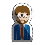 Isolated man with glasses design. Man with glasses icon. Male avatar person people and human theme. Isolated design. Vector illustration Royalty Free Stock Images