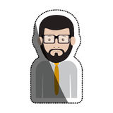 Isolated man with glasses design. Man with glasses icon. Male avatar person people and human theme. Isolated design. Vector illustration Stock Photos
