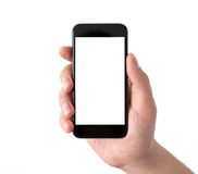 Isolated man hand holding black phone with white screen Royalty Free Stock Photos